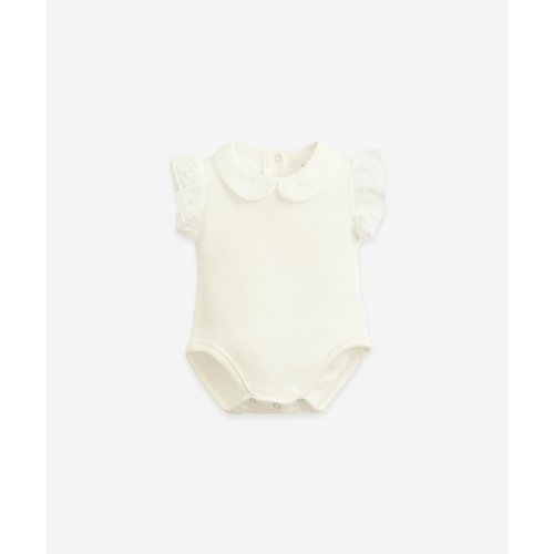 Play Up Play Up | Rib body | Romper met volant en collar | Wit