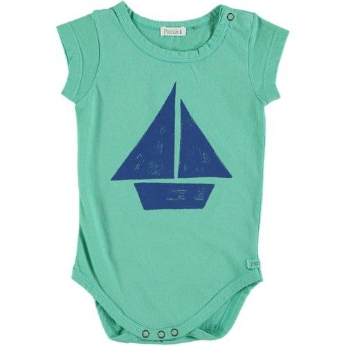 Picnik Picnik | Romper SS | Groen zeilboot