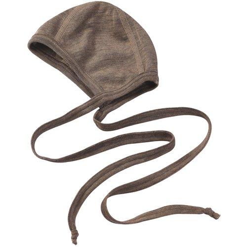 Engel Natur Engel Natur   Baby bonnet   Strikmutsje wol + zijde   Walnut