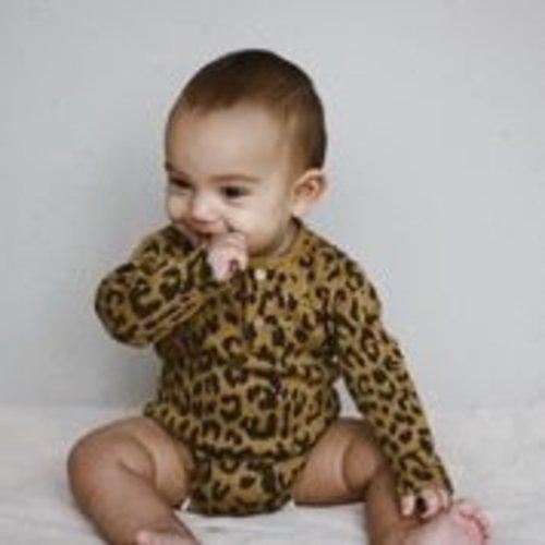 Daily Brat Daily Brat | Leopard bodysuit LS | Romper sandstone