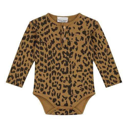Daily Brat Daily Brat   Leopard bodysuit LS   Romper sandstone