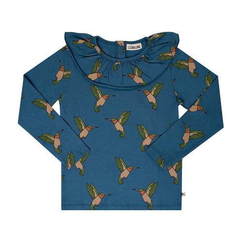 CarlijnQ CarlijnQ | Big collar Hummingburd | Longsleeve blauw