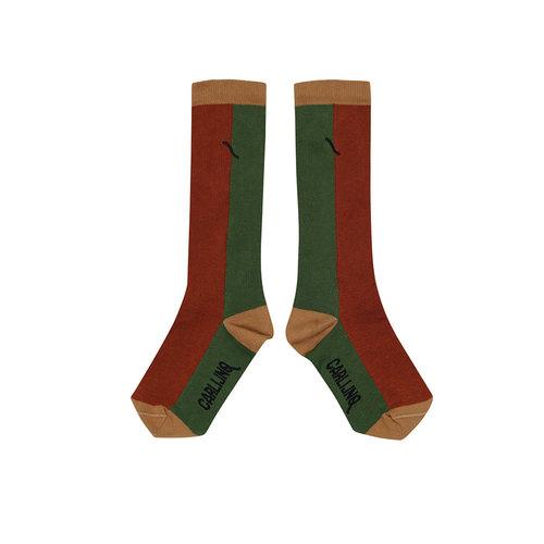 CarlijnQ CarlijnQ | Knee socks | Color block ginger/green