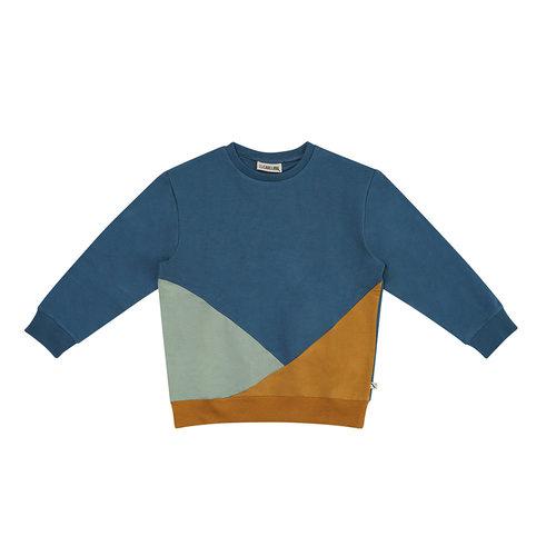 CarlijnQ CarlijnQ | Sweater color block kompas | Blauw geel