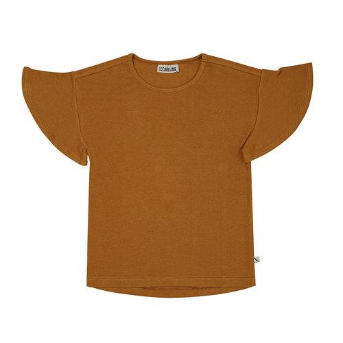 CarlijnQ CarlijnQ | T-shirt chipmunk ruffled SS | Rib oker
