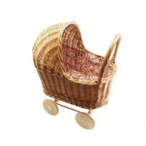 Hollie Hollie | Rotan poppenwagen met kap | Retro Flowers