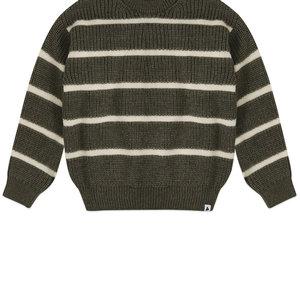 Ammehoela Ammehoela | Jumper.05 | Knitted sweater hedge green stripe