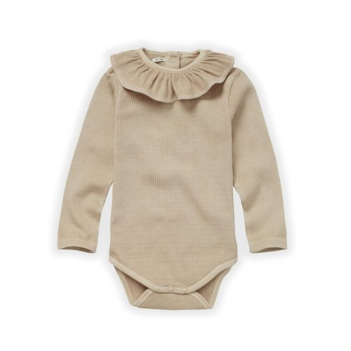 Sproet & Sprout Sproet & Sprout | Rib Romper Collar Nougat