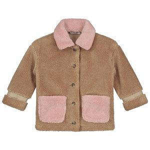 Daily Brat Daily Brat | Parker Teddy jacket | Camel + Pink