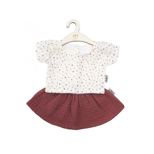 Hollie Hollie | Poppen rok en shirt | Blush sweet dots