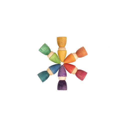 Grapat Grapat | Rainbow Tomtens | Set van 6 houten kabouters