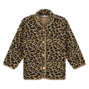 Daily Brat Daily Brat | Fuzzy Teddy Leopard Jacket | Camel
