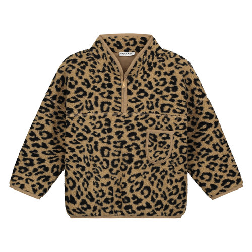 Daily Brat Daily Brat | Fuzzy Teddy Leopard pullover | Sweater camel