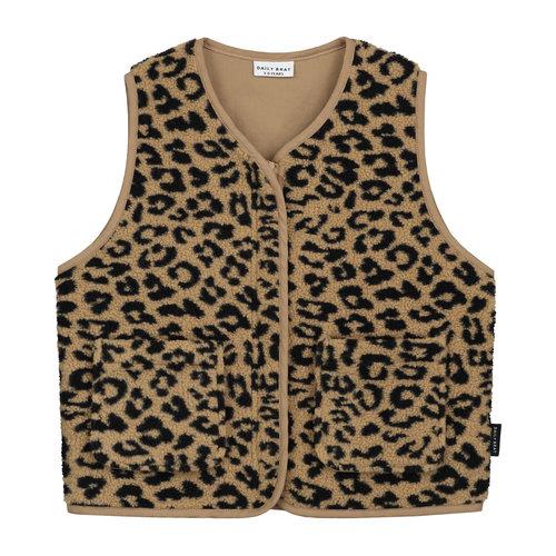 Daily Brat Daily Brat | Fuzzy Teddy Leopard Vest | Gilet