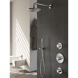 Hotbath Volledige Thermostatische Douche Inbouwset - Hotbath Buddy - 2 stopkranen - RVS Uitstraling