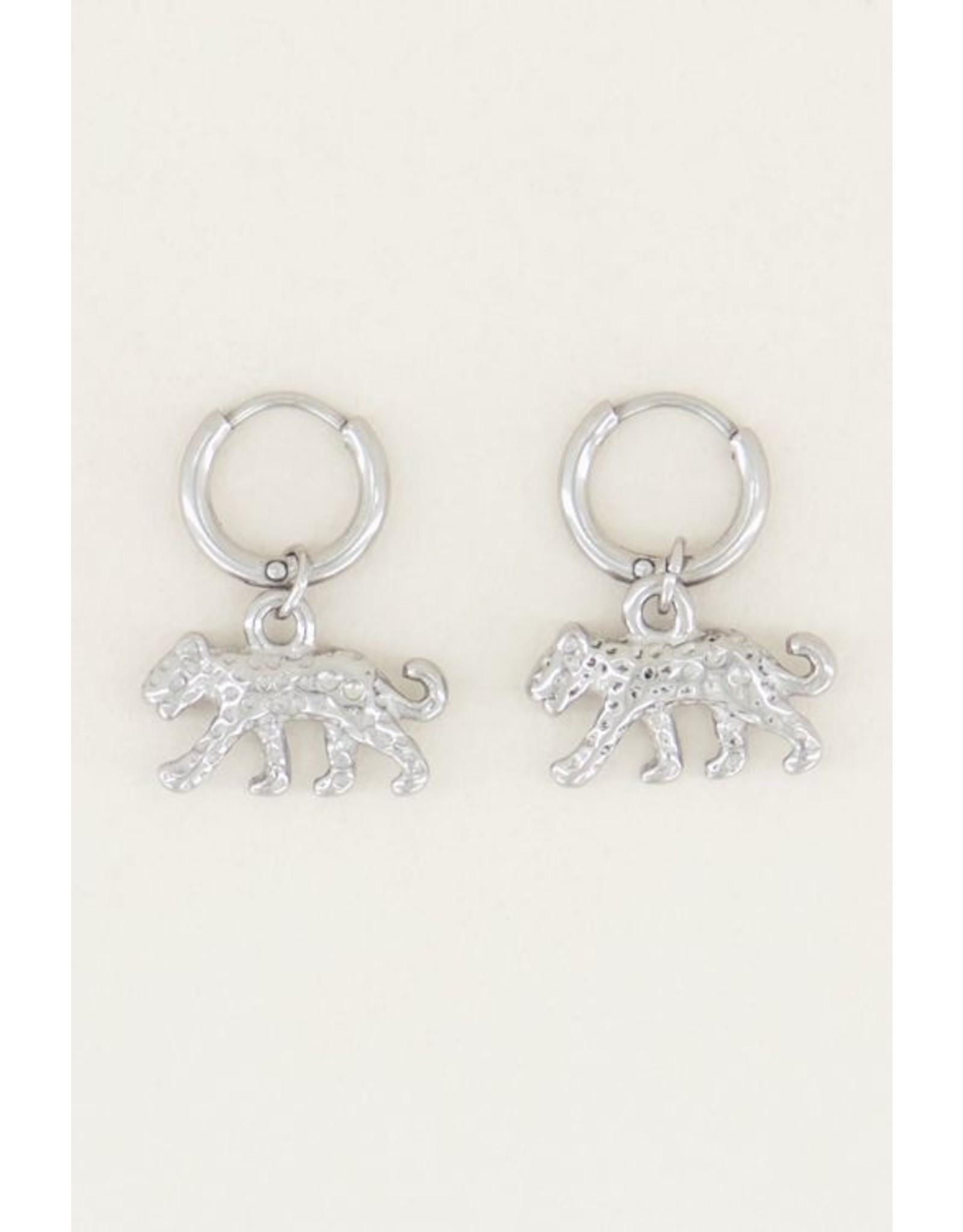 My jewellery Oorringen luipaard ZILVER