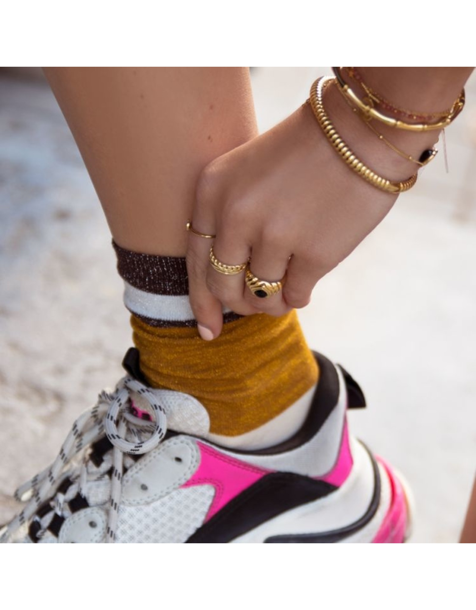 My jewellery Gestreepte sokken met glitters