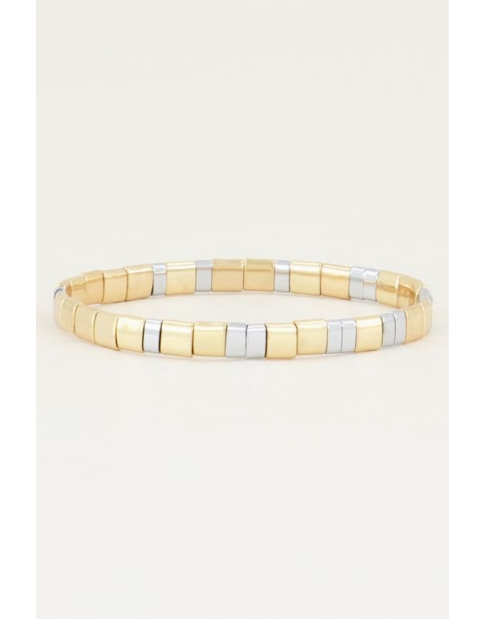My jewellery Armband platte kralen bi-color