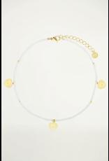 My jewellery Wit enkelbandje hartjes