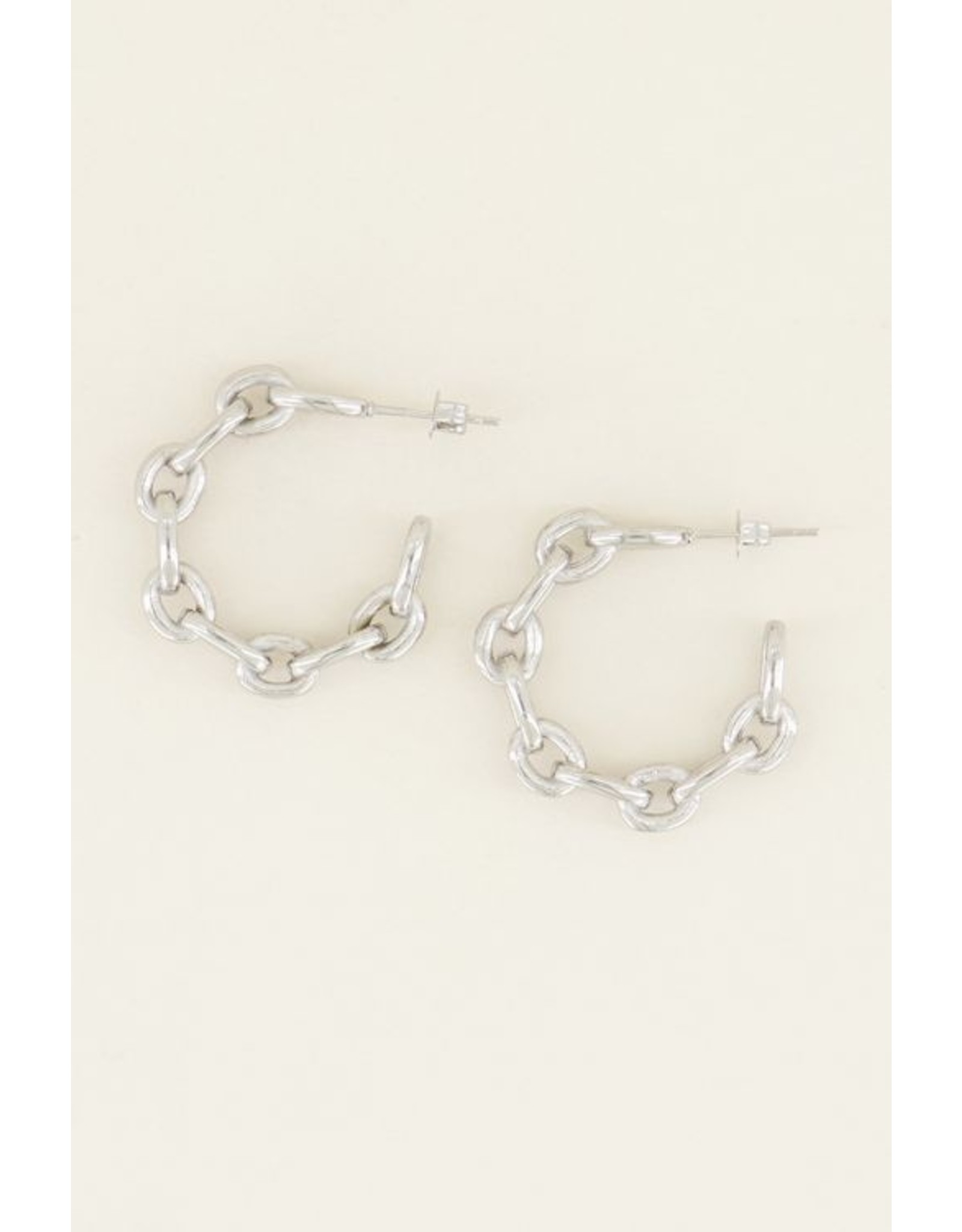 My jewellery Oorringen grove schakels zilver