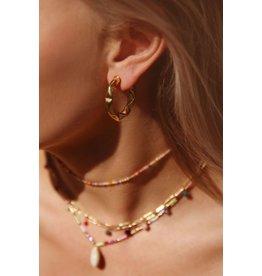 My jewellery Brede oorringen met patroon goud
