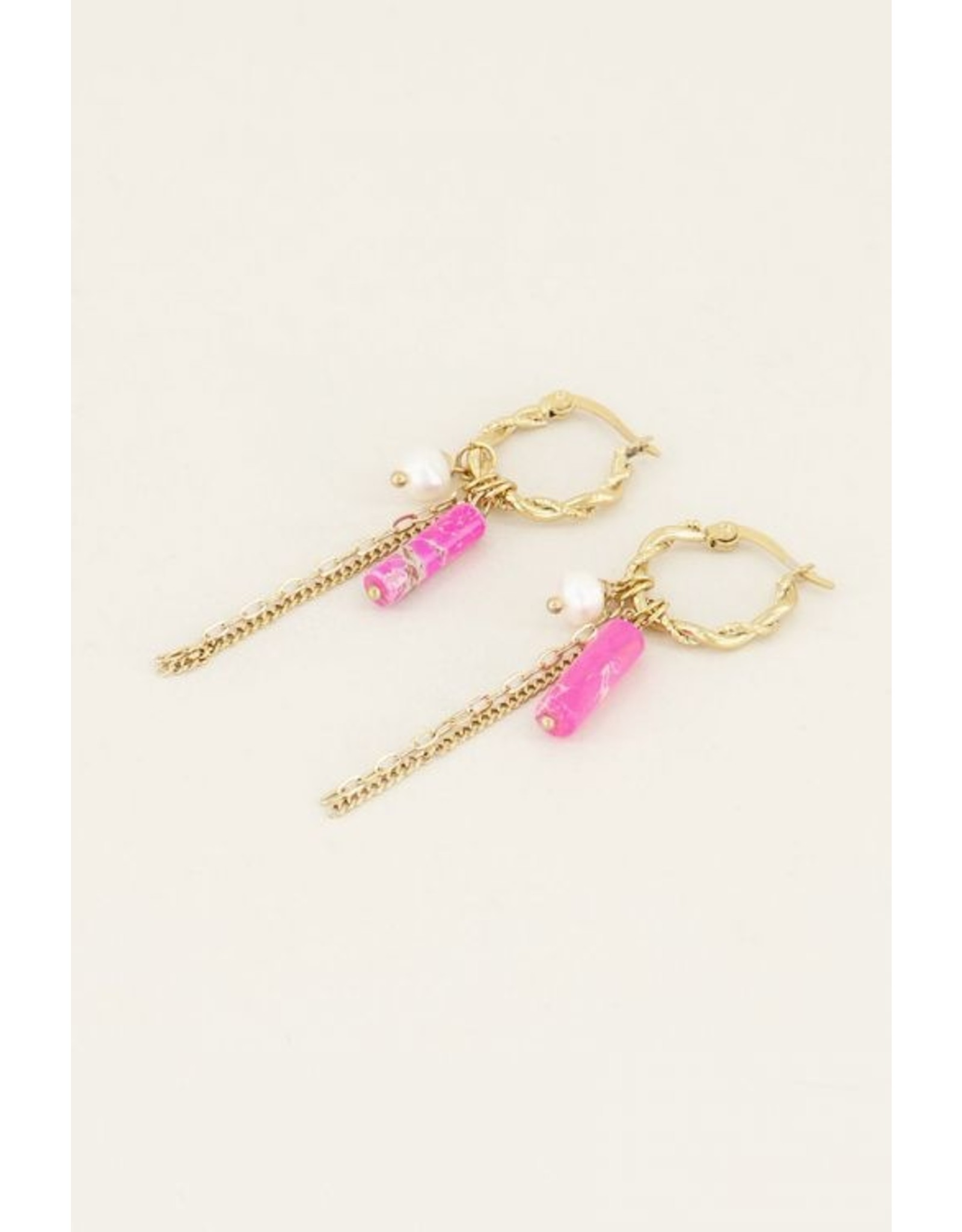 My jewellery Oorringen sliertjes & kralen roze