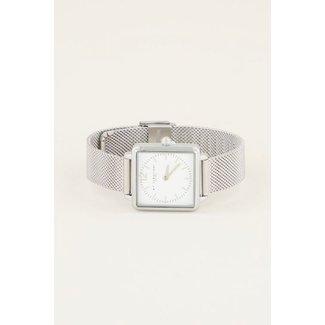 My jewellery Vierkant horloge mesh zilver