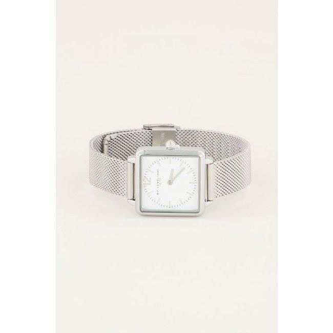 Vierkant horloge mesh zilver