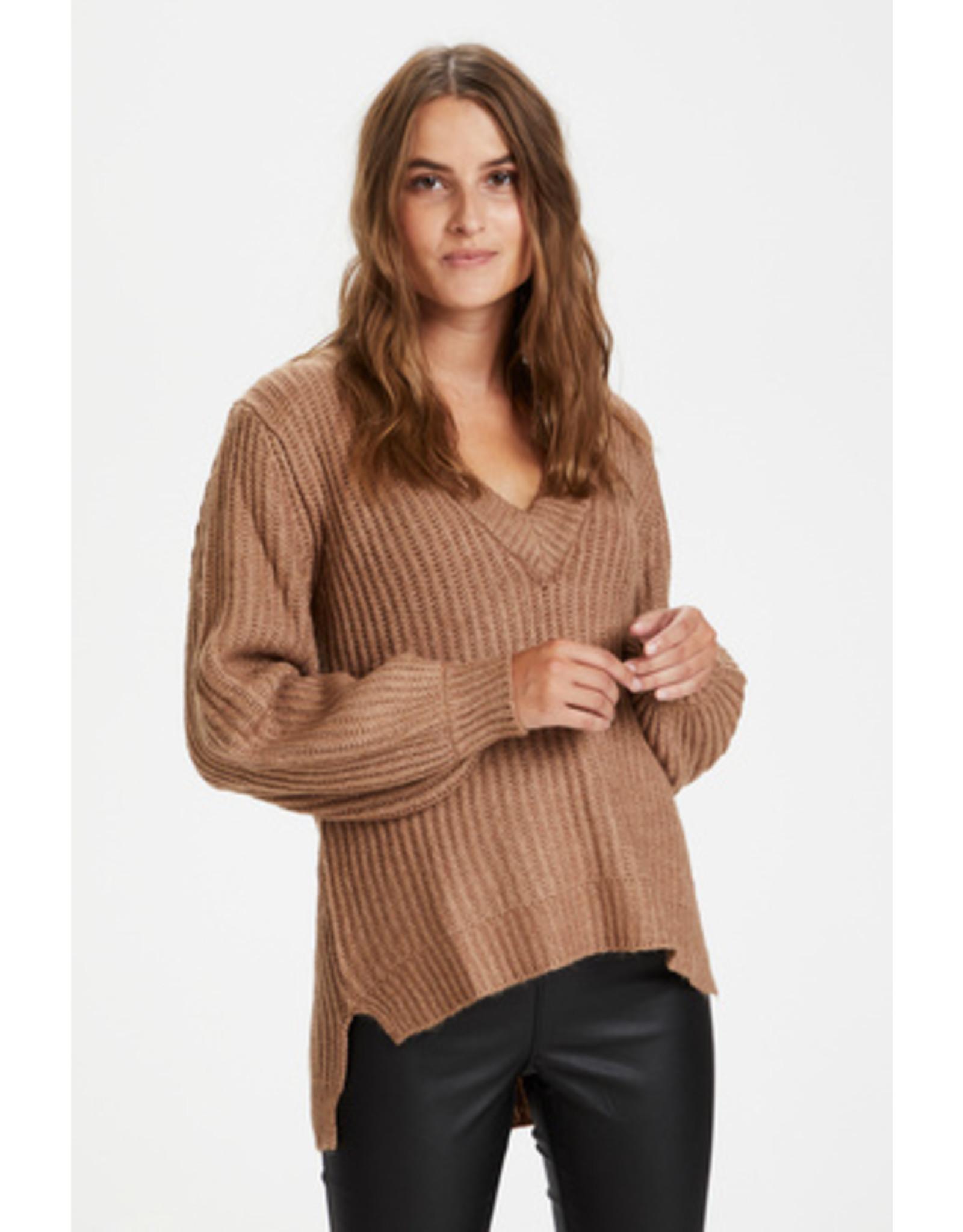 Kaffe Bitten Knit Pullover Woodsmoke Melange