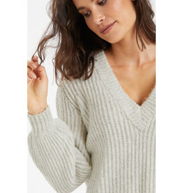Kaffe Bitten Knit Pullover Light Grey melange