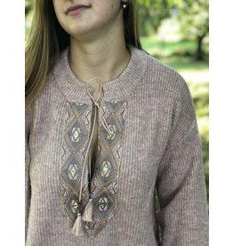 Cream Lara Knit Pullover Adobe Rose