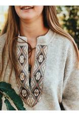 Cream Lara Knit Pullover Oat Melange