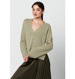 Rut&Circle Emelie V-neck Knit Tea Green