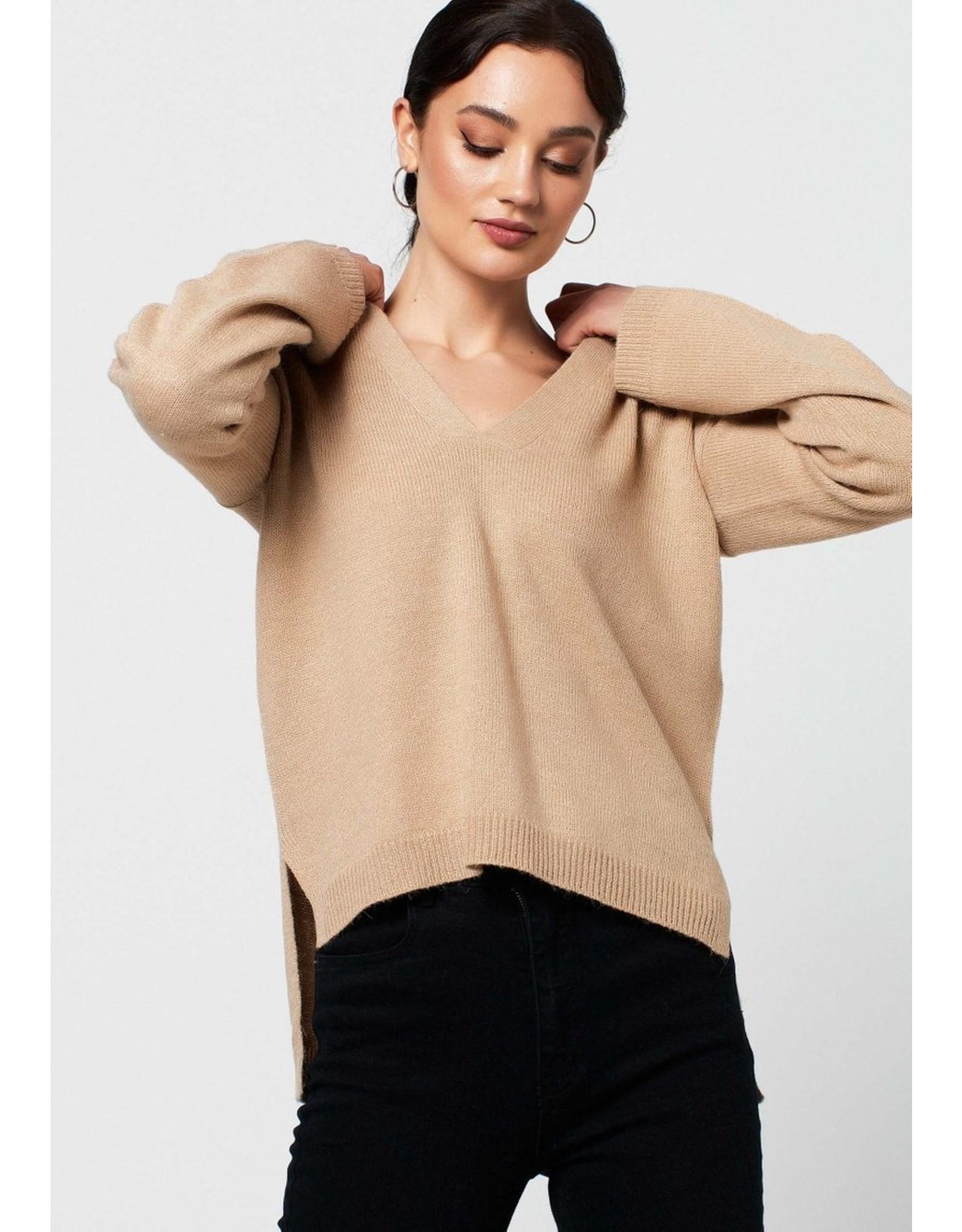 Rut&Circle Emelie V-neck Knit Beige