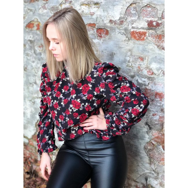 Lilly Blouse Red Flower