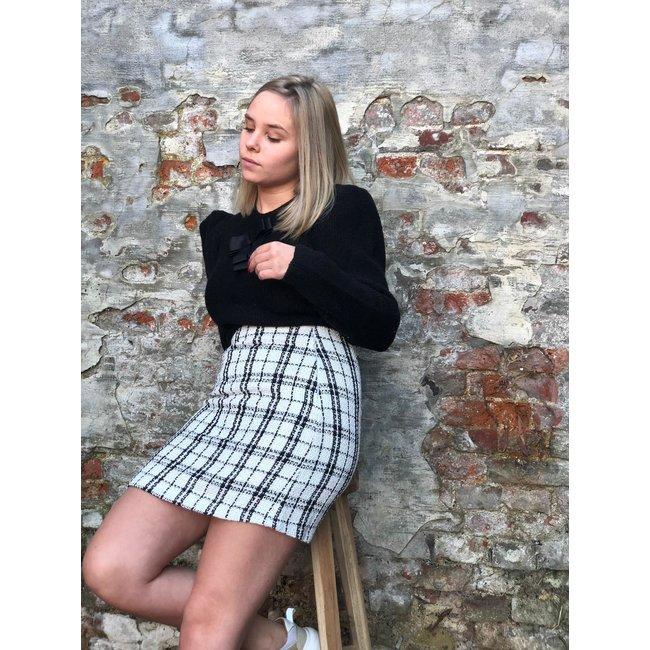 Alicia Skirt White/Black Check