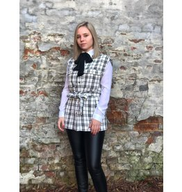 Rut&Circle Alicia Vest White/Black Check