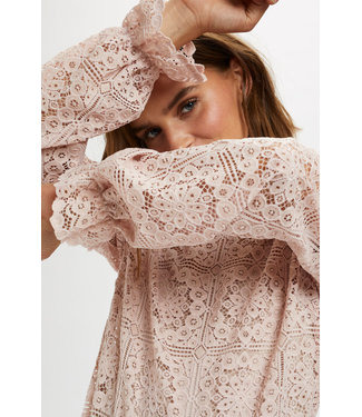 Cream Tiley Lace Blouse Burnished Lilac