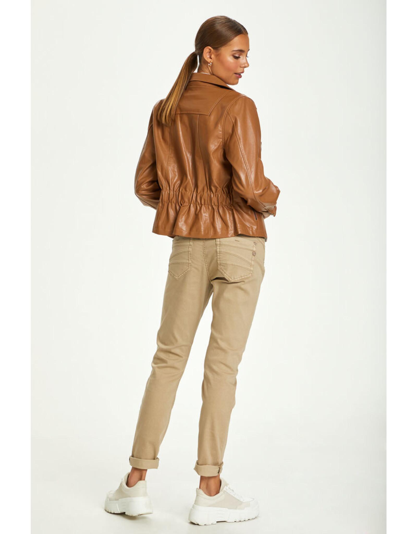 Cream Ille Faux Leather Jacket
