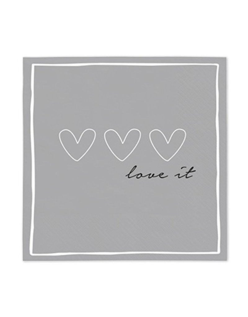 Bastion Collections Serviette Hearts grey