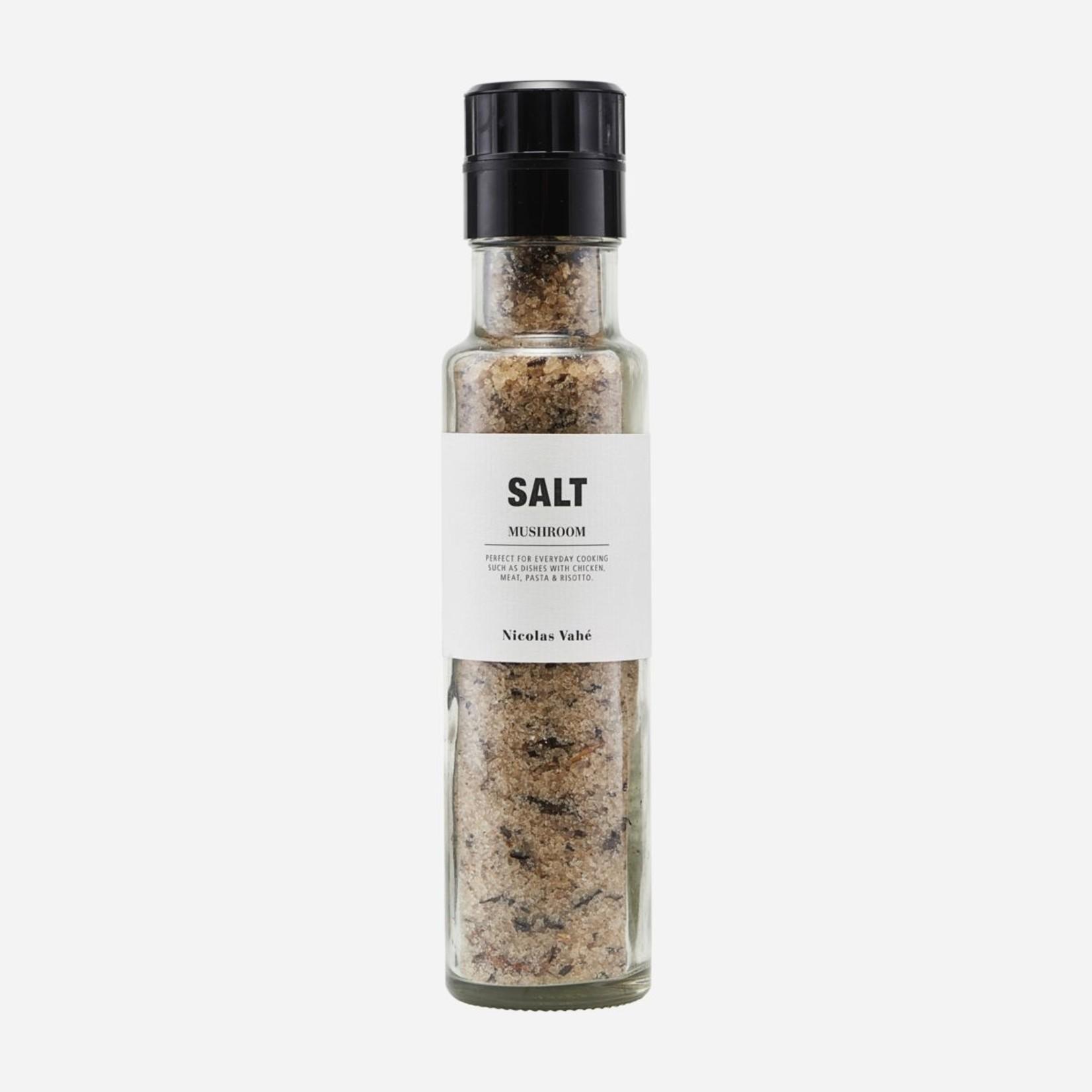 Nicolas Vahé Salz mit getrockneten Pilzen