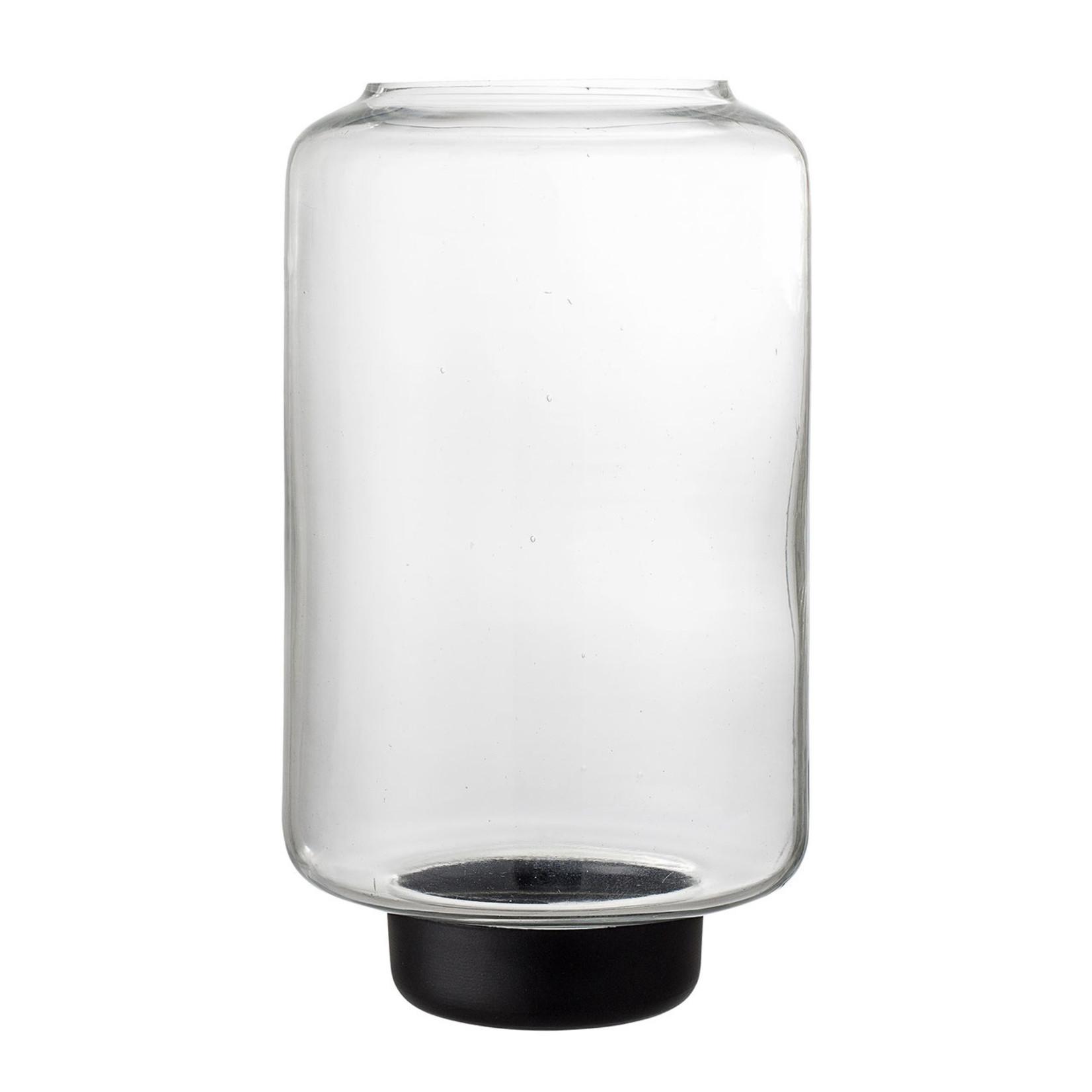 Bloomingville  Windlicht Glas mit schwarzem Fuß