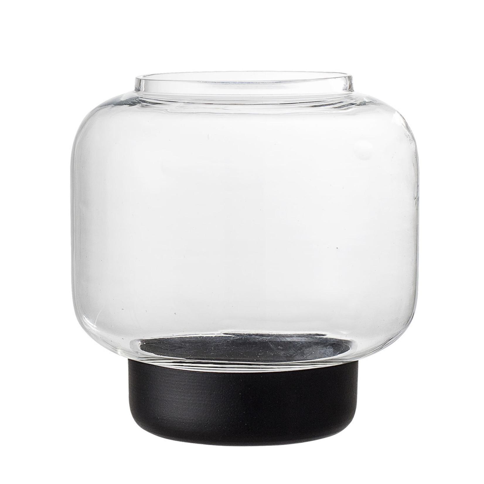 Bloomingville  Windlicht Glas mit schwarzem Fuß S
