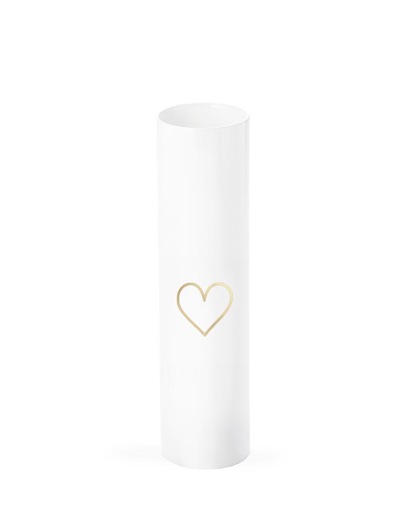 Eulenschnitt zylindrische Vase mit Herz