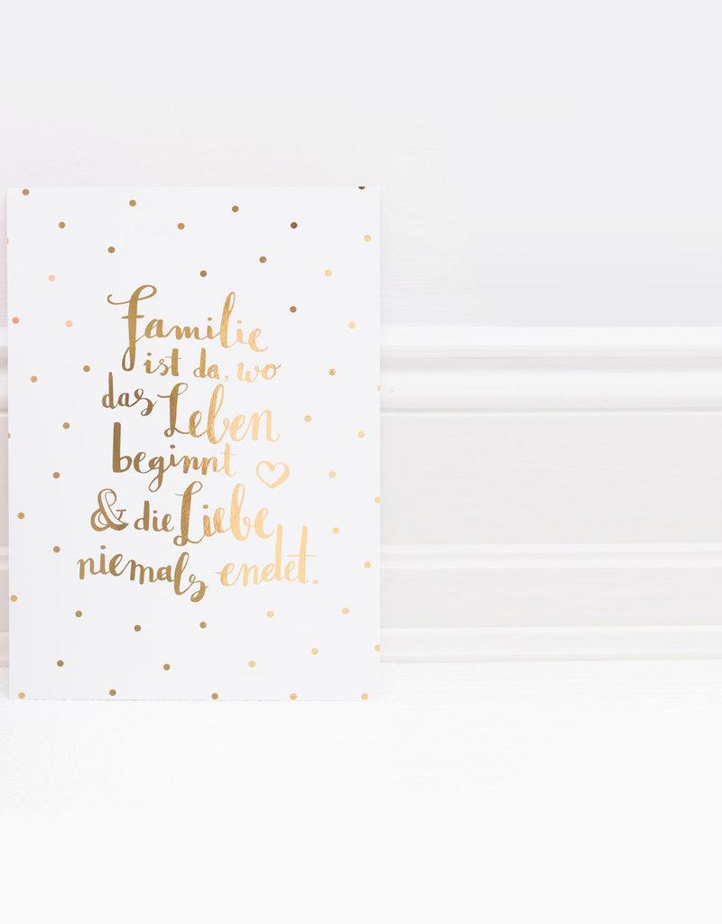 Eulenschnitt Familie Goldprint