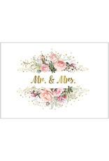 Postkarte Mr&Mrs Bouquet rosa