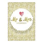 Postkarte Mr und Mrs rosa