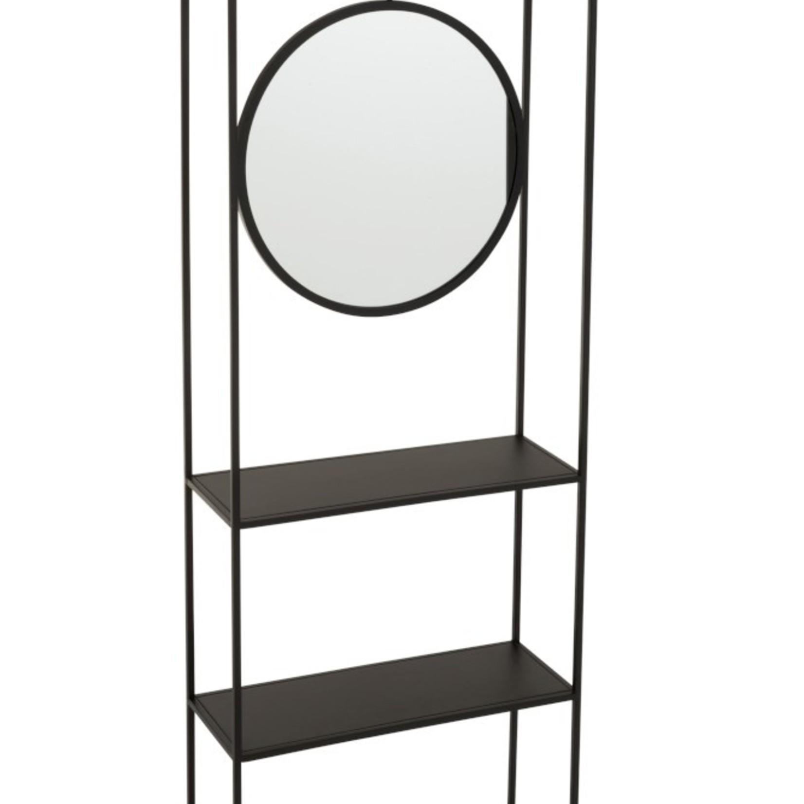 Jolipa  Wandregal mit Spiegel schwarz