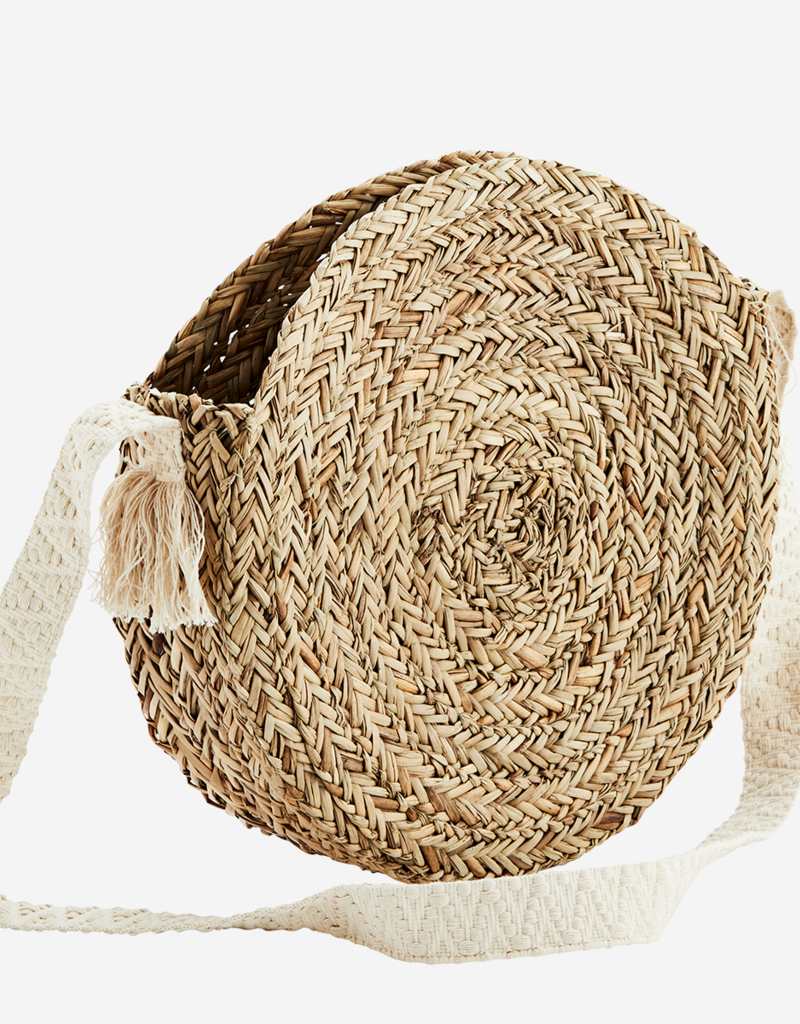 Madam Stoltz Round Straw Bag Cotton Strap