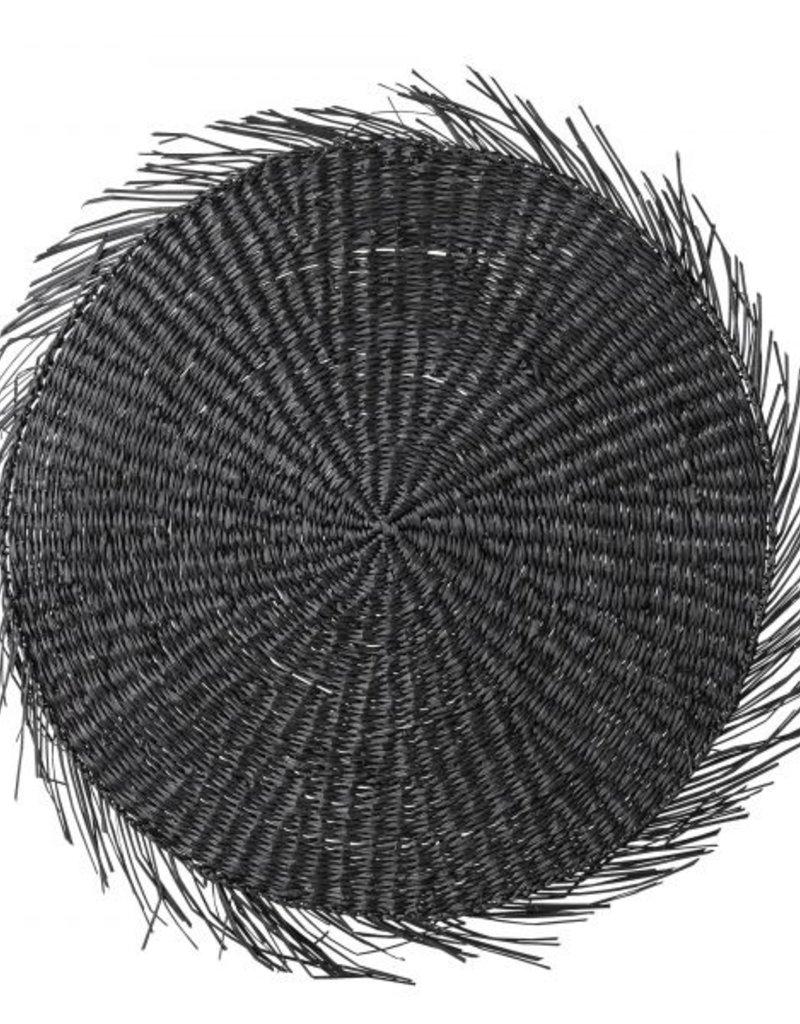 Seegras Tischset rund schwarz